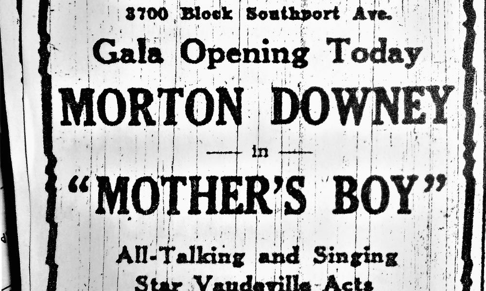 "Crop of a 1930s era Music Box Theatre advertisement for ""Mother's Boy""."