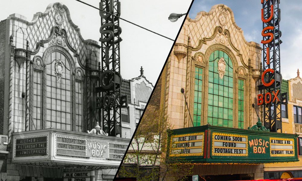 Black & white photo of the Music Box Theatre's past vs a current era color photo.